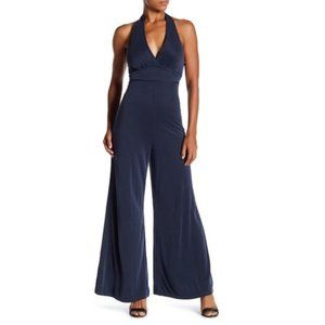 Willow & Clay Faux Suede Navy Halter Jumpsuit